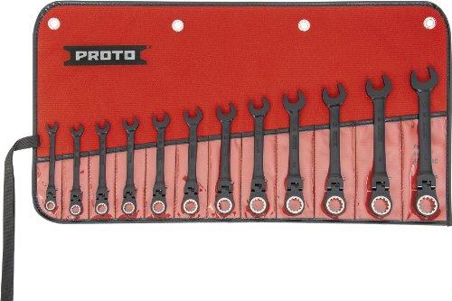 Stanley Proto Industrial JSCVMF-12S Black 12 Piece Flexible Ratchet Wrench Set - Millimeter