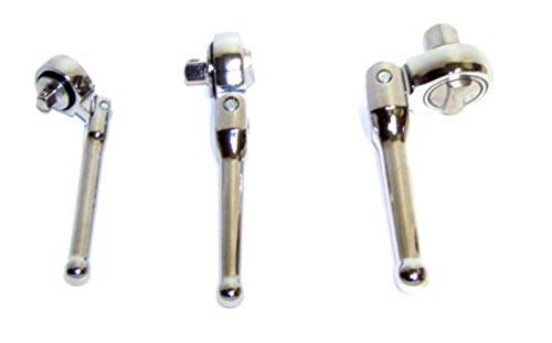 Socket Sets 3 PC Flexible Stubby Ratchet Handle Socket Wrench Swivel Tool Set 14 38 12