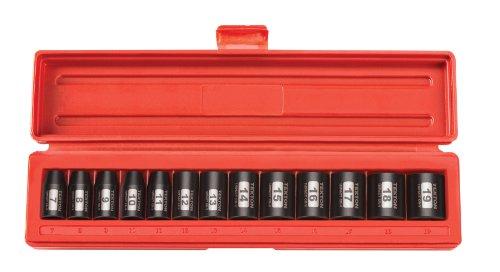 TEKTON 47915 38-Inch Drive Shallow Impact Socket Set Metric Cr-V 6-Point 7 mm - 19 mm 13-Sockets