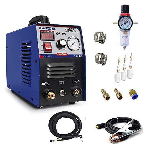 PLASMAGRON Air Plasma Cutter 50A Compact Metal Cutter 12 Clean Cut Dual Voltage 110V 220V Scrach Start Arc HF Plasma Cutter Machine Cut50
