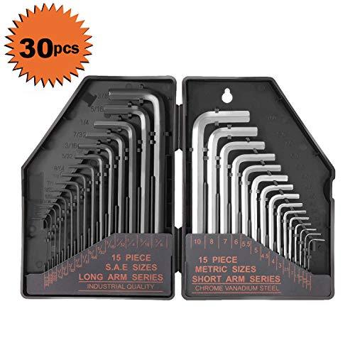 30Pcs Allen Wrench Set Tacklife Hex Key Set with 15Pcs Black-Oxide Finish 0028-38 Long arms 15Pcs Matte Finish 07-10mm Short arms Allen Key Set - HHW1A