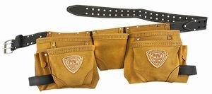 McGuire 12 Pkt Carpenter Apron wLeather Belt Classic Leather 429