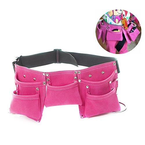 Fellibay Double Tool Belt Nail Tool Pouch Builders Bag Belt Storage Hammer Holder Waist Bag with 5 Pockets for Kids Children Magenta