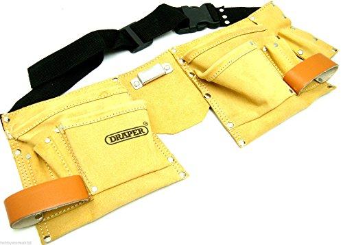 Draper Double Tool Pouch Carpenters Belt Tools Belt Builders Leather Tool Belt