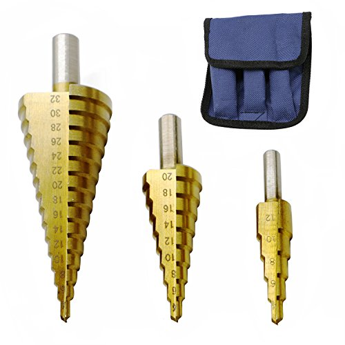 3 PCS HSS Titanium Coated Cone Step Drill Bit Set Metal Hole Cutter Power Tools kit Metric 4-122032mm