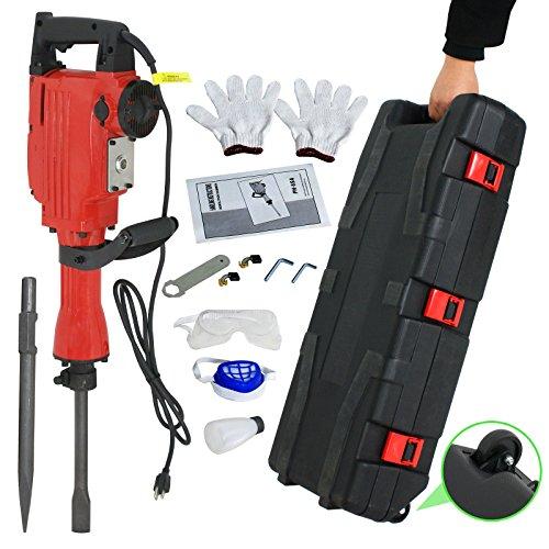 F2C 2200W Heavy Duty Electric Demolition Jack Hammer Concrete Breaker Power Tool Kit 2 Chisel 2 Punch Bit Set WCase Gloves