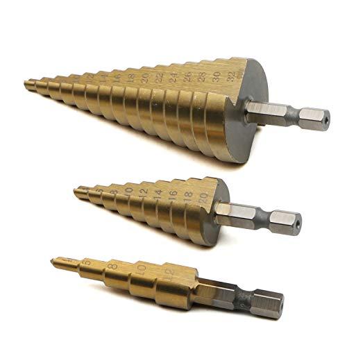 JIUWU 3pcs 635mm HSS Hex Shank Step Drill Set Handle Straight Slot Titanium Plated Pagoda Drill Bit Twist Drill Metal Coated Hole Cutter Drive Quick Change Power Tools Kit