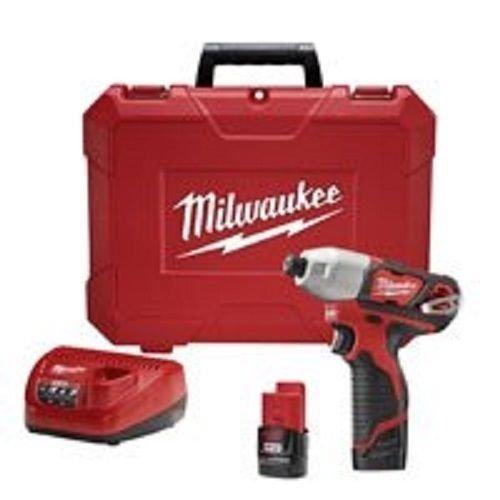 New Milwaukee 2462-22 M12 12 Volt Cordless Impact Drill Driver Kit Set Sale