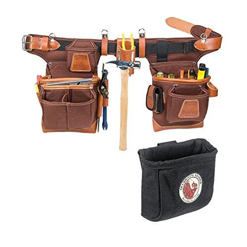 Occidental Leather 9855 Adjust-to-Fit Fat Lip Tool Belt Set Café Bundle w 9501 Clip-On Pouch 2 Pieces
