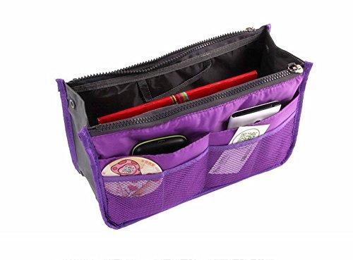Handbag Pouch Bag in Bag Organiser Insert Organizer Tidy Travel Cosmetic Pocket Tool Bags - Purple