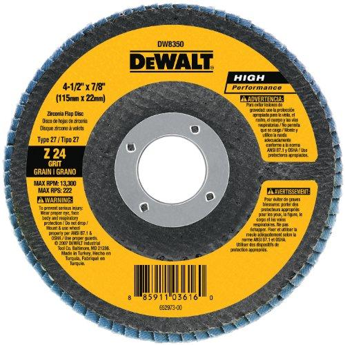 DEWALT DW8303 4-Inch by 58-Inch 80 Grit Zirconia Angle Grinder Flap Disc