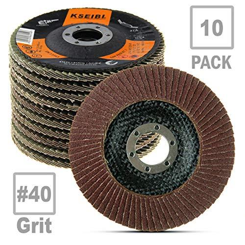 KSEIBI 686008 Aluminum Oxide 4 12 in Auto Body Flap Disc Sanding Grinding Wheel 10 Pack 40 Grit