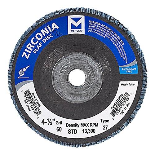 Mercer Industries 272H060 Zirconia Flap Disc Type 27 4 12 x 58 11 Thread Grit 60 10 Pack