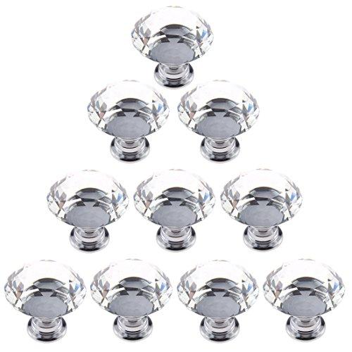 Generic 10 Pcs 30mm Diamond Shape Crystal Glass Cabinet Knob