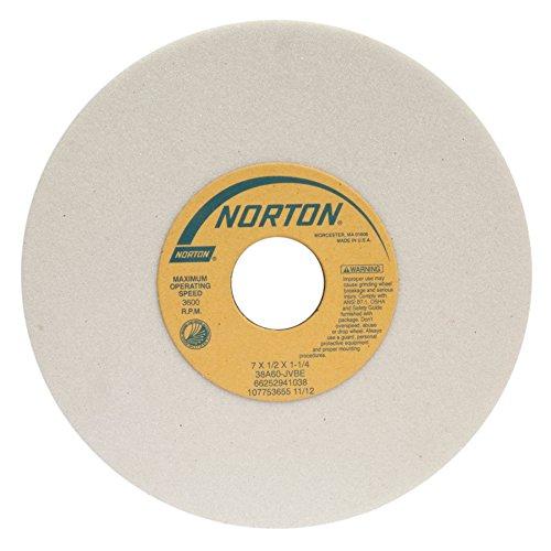 Norton 38A46-HVBE Type 01 Vitrified Straight Toolroom Grinding Wheel Aluminum Oxide 7 Diameter x 12 Width 1-14 Arbor 46 Grit Grade H White Pack of 1