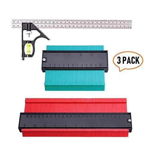 3 Pack Contour Gauge Duplications 5 and 10 Profile Copy Tool Shape with 12Combination SquareMeasure Ruler Contour Duplicator for Precise Measurement Tiling Laminate Wood Marking Tool C