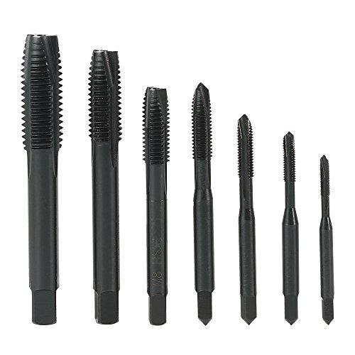 KKmoon 7PCS M3 M4 M5 M6 M8 M10 M12 Nitride High Speed Steel HSS6542 Spiral Pointed Tap Machine Hand Screw Thread Taps Set Thread Metric Plug Tap Drill Bits