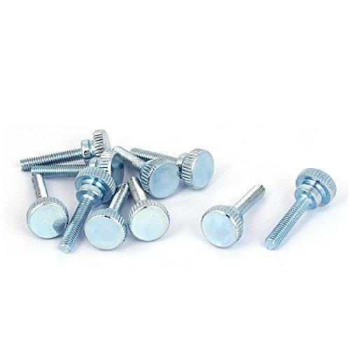 uxcell M4x20mm Carbon Steel Step Hand Screw Flat Knurled Head Thumb Bolts 10pcs