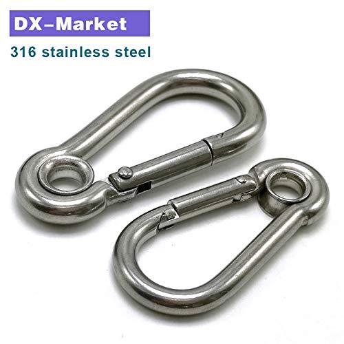 Ochoos m11 2pcs m11120 Carabiner Hook with Circular Ring 316 Stainless Steel Wire Rope Hook Eye Shackle