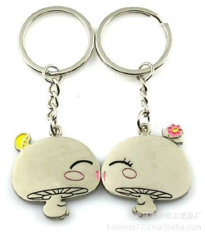 Cookids Mushroom Lovers Kiss Alloy Metal Keychain Keyringlove Couple Keychain Unique Special Cute Novel Gift(a Pair)