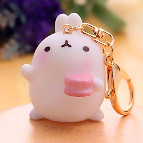 Rabbit Pink Macarons Molang Keyring Pendant Keychain Purse Bag Key Ring Chain