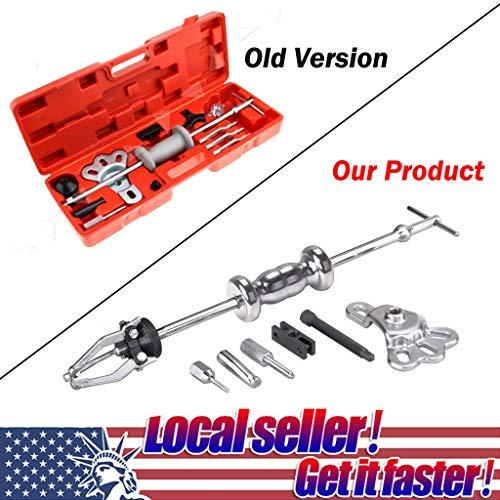 Slide Hammer Puller Set Comprehensive 16PC Axle Slide Hammer and Dent Panel Bearing Puller Set Garage Tool Rear Wheel Axle Shaft Puller Tool Kit Red Case