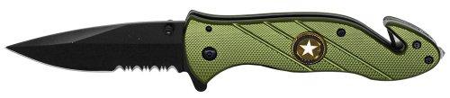 475 Army Folding POCKET Knife - Belt Clip Glass Breaker Seatbelt Cutter OVERALL SIZE 825