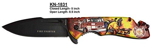 Embossed Fire Fighter 3-D Pocket Knife w Belt Holder