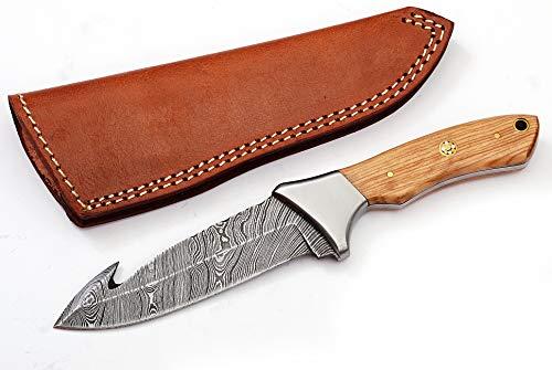 Custom Made Damascus Steel Hunting Gut Hook Knife WT-2732