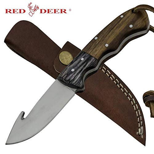 RED DEER Grazer Gutter Full Tang Hunting Knife with Two Color Pakka Wood Handle 440 Stainless Steel Blade Gut Hook and Genuine Leather Sheath