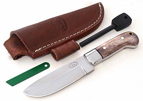 CFK Cutlery Company USA Custom HUNTERS COMPANION Handmade D2 Tool Steel Autumn Bone SMALL Hunting Skinning Knife with Leather Sheath Fire Starter Rod Set Cfk4