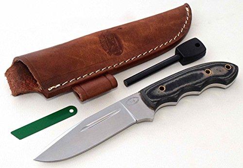 CFK Cutlery Company USA Custom Handmade Blood Groove MT ADAMS DEER ELK MOOSE D2 Tool Steel 59HRC Micarta Hunting Skinning Knife with Leather Sheath Fire Starter Rod Set CFK10