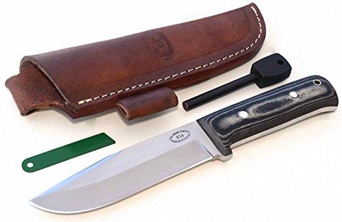 CFK Cutlery Company USA HUNTERS-COMPANION II Custom Handmade D2 Tool Steel 59HRC Camo Micarta Bushcraft Hunting Skinning Knife Leather Sheath Fire-Starter Rod CFK106