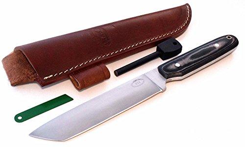 CFK Cutlery Company USA - MT HOOD BUSHCRAFTOR II TANTO - Custom Handmade D2 Tool Steel Camo Micarta Bushcraft Hunting Skinning Knife Leather Sheath Fire-Starter Rod Set CFK95
