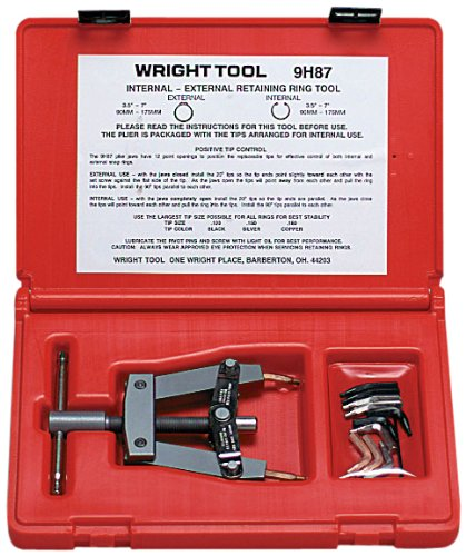 Wright Tool 9H87 Retaining Ring Tool with Automatic Lock-In Plastic Case