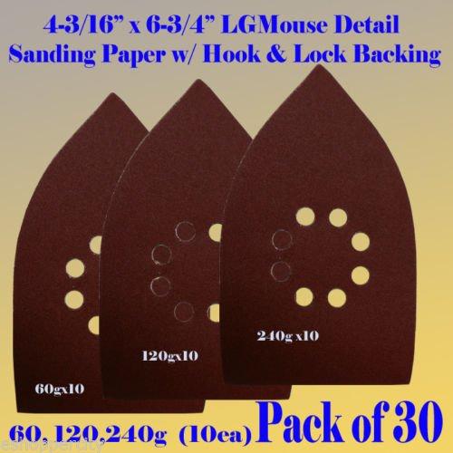 30 Assorted 60120240 Grits Large Mouse Detail Sander Sandpaper Sanding Paper Hook Loop Assorted 60 80 120 180 240 320 Grits for Black and Decker Mega Mouse Cyclon Sandstorm Craftsman