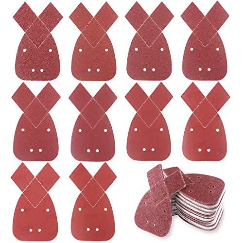 Glarks 100Pcs Triangle Mouse Detail Sander Sandpaper Sanding Paper With 2 Extra Tips Hook and Loop Assorted 4060 80100 120180 240320 400800 Grits for Black and Decker Detail Palm Sander