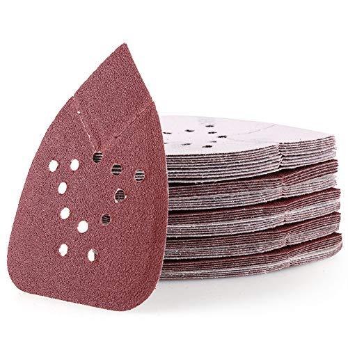 Sanding Pads for Black and Decker Mouse Sanders 50PCS 80 Grit Hook and Loop Sandpaper Sheets - LotFancy 12 Holes Detail Palm Sander Sand Paper