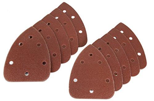 WEN 6301SP240 Detailing Palm Sander 240-Grit Hook Loop Sandpaper 10 Pack
