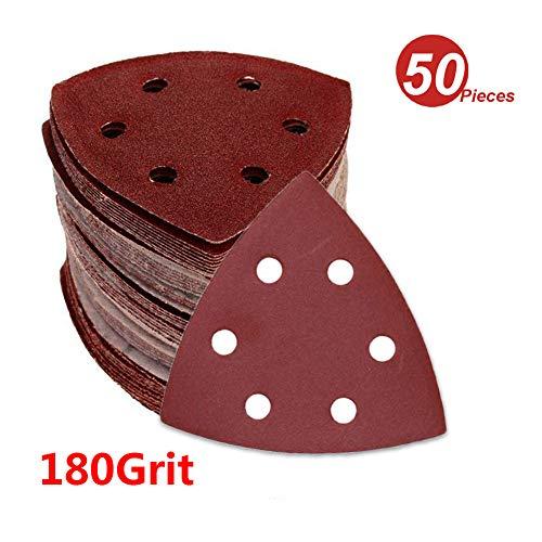 WINGONEER 50PCS 35 Inch 6 Holes Triangle Sanding Pads Detail Sander Sandpaper Sanding Paper Dustless Hook Suitable For Palm Sander - 180 Grit