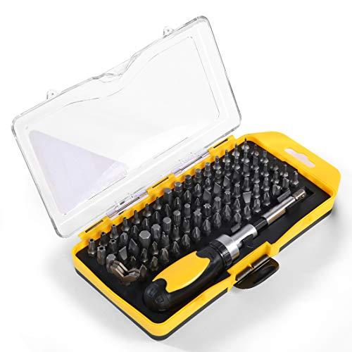 BONSWAGOO 89 in 1 Ratcheting Screwdriver BitsFlexible ShaftNon-Skid&Anti-static Handle Professional Repair Tool Kit