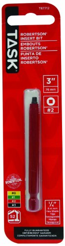 Task Tools T67712 3-Inch Robertson Screwdriver Power Insert Bit  Number-2 Red