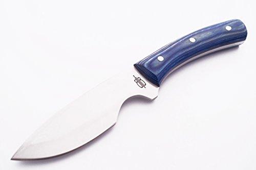 BucknBear Custom Handmade 440C Stainless Steel Fixed Blade Hunting Knife Blue Handle