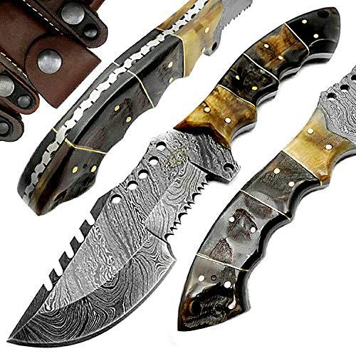 Ram Horn 95 Tracker Fixed Blade Custom Hand Made Damascus Steel Hunting Knife 100 Prime Quality