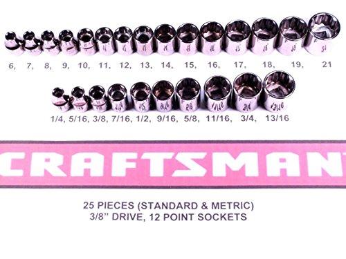 Craftsman 25 Piece 38 Inch Drive Socket Set