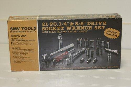 SMV Tools 21 pc 14 38 Drive Socket Wrench Set - Metric
