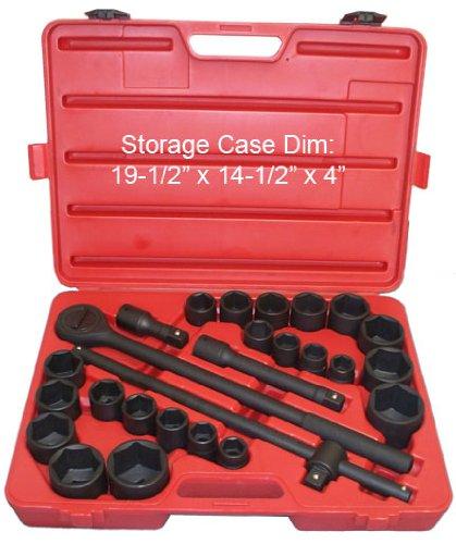 27 PCS 34 Drive Combination Socket Set Metric and ImperialChrome Vanadium