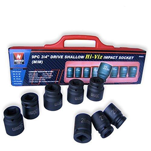 Professional Quality 34 Dr Shallow Impact Socket Set - SAE by Neiko