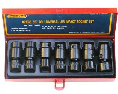 Wisdom 38Dr Universal Shallow Impact Socket Set SAE 8-Pcs