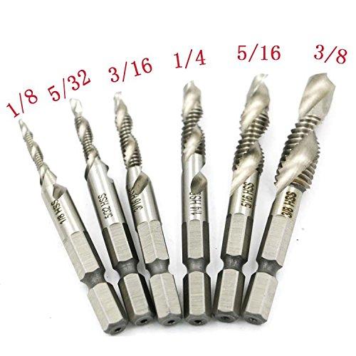 Yakamoz 6PCS Drill Tap Combination Bit Set HSS Deburr Countersink Bit 14 Hex Shank Tool Kit  Imperial